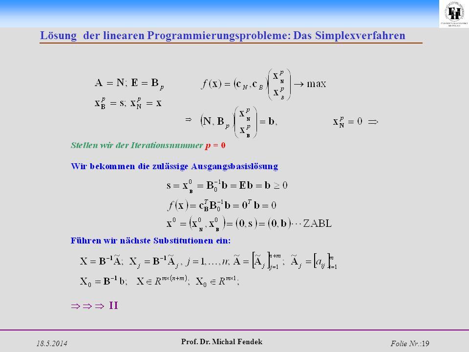 18.5.2014 Prof. Dr. Michal Fendek Folie Nr.:19 Lösung der linearen Programmierungsprobleme: Das Simplexverfahren