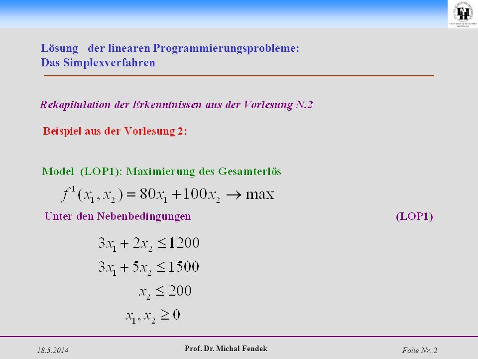 18.5.2014 Prof. Dr. Michal Fendek Folie Nr.:2 Lösung der linearen Programmierungsprobleme: Das Simplexverfahren