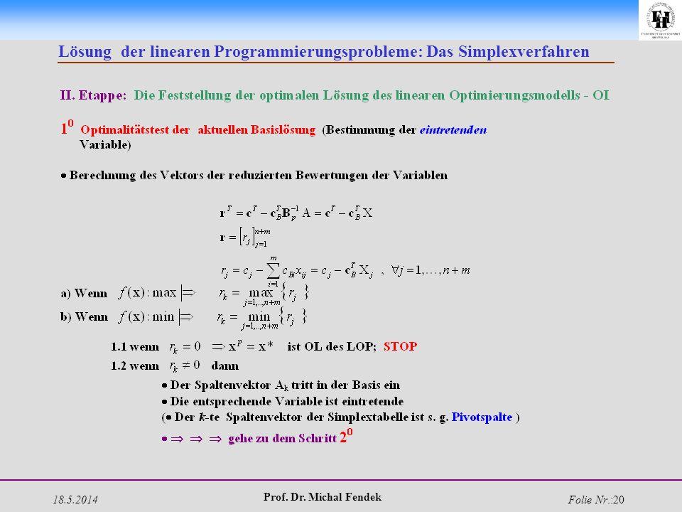 18.5.2014 Prof. Dr. Michal Fendek Folie Nr.:20 Lösung der linearen Programmierungsprobleme: Das Simplexverfahren