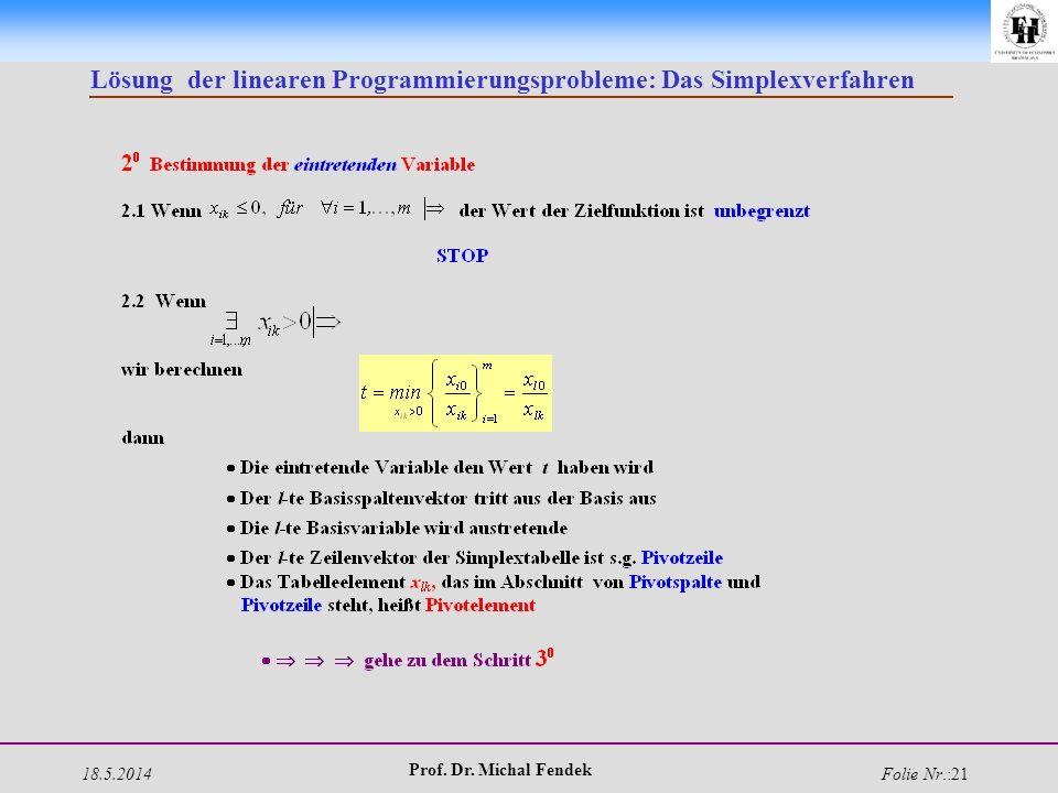 18.5.2014 Prof. Dr. Michal Fendek Folie Nr.:21 Lösung der linearen Programmierungsprobleme: Das Simplexverfahren