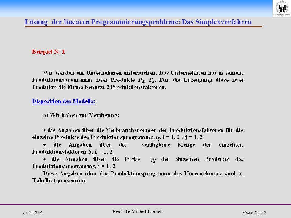 18.5.2014 Prof. Dr. Michal Fendek Folie Nr.:23 Lösung der linearen Programmierungsprobleme: Das Simplexverfahren
