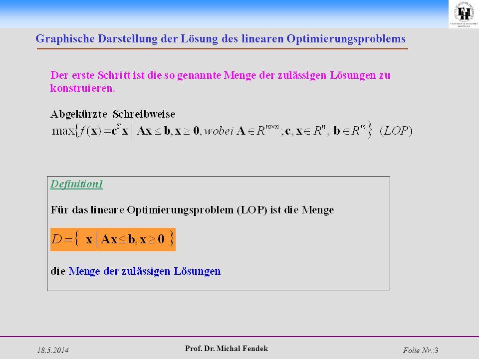 18.5.2014 Prof. Dr. Michal Fendek Folie Nr.:3 Graphische Darstellung der Lösung des linearen Optimierungsproblems