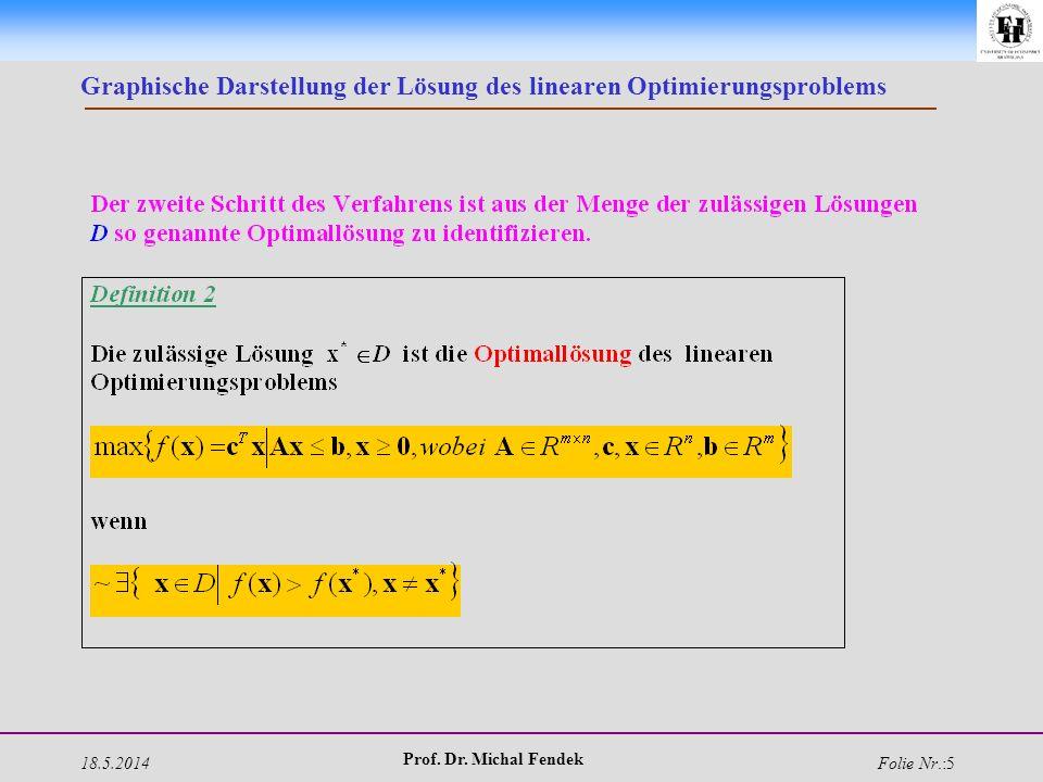 18.5.2014 Prof. Dr. Michal Fendek Folie Nr.:5 Graphische Darstellung der Lösung des linearen Optimierungsproblems