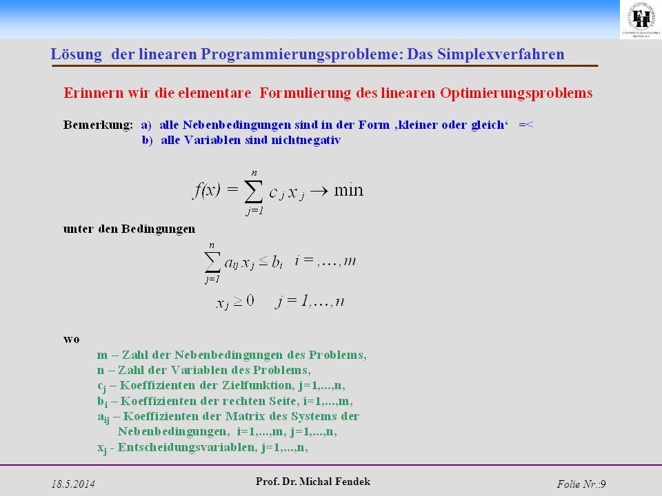 18.5.2014 Prof. Dr. Michal Fendek Folie Nr.:9 Lösung der linearen Programmierungsprobleme: Das Simplexverfahren