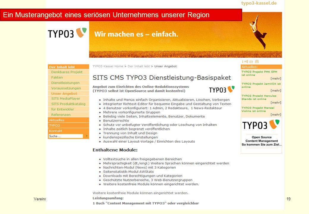Vereinswebsite Konrad Rennert19 Musterangebotstext 1 Ein Musterangebot eines seriösen Unternehmens unserer Region