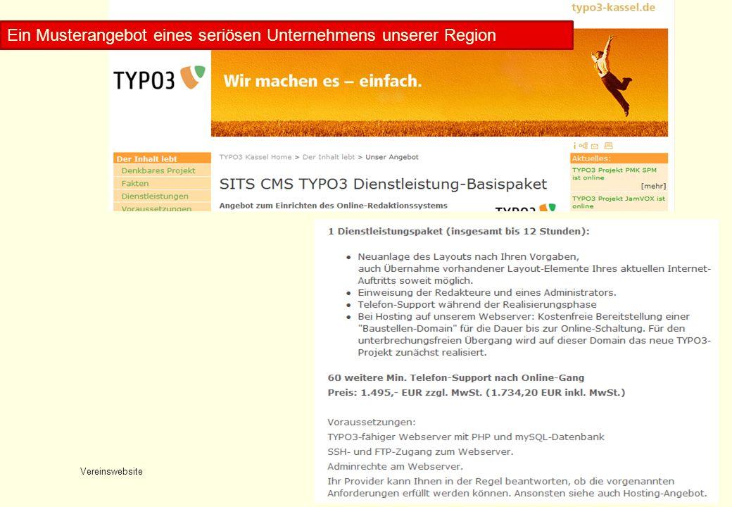 Vereinswebsite Konrad Rennert20 Musterangebotstext 2 Ein Musterangebot eines seriösen Unternehmens unserer Region