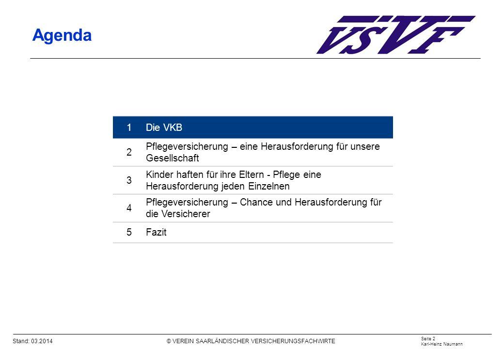 Stand: 03.2014 © VEREIN SAARLÄNDISCHER VERSICHERUNGSFACHWIRTE Pflegeversicherung – Umlagefinanzierung eine Herausforderungen für die SPV Seite 13 Karl-Heinz Naumann