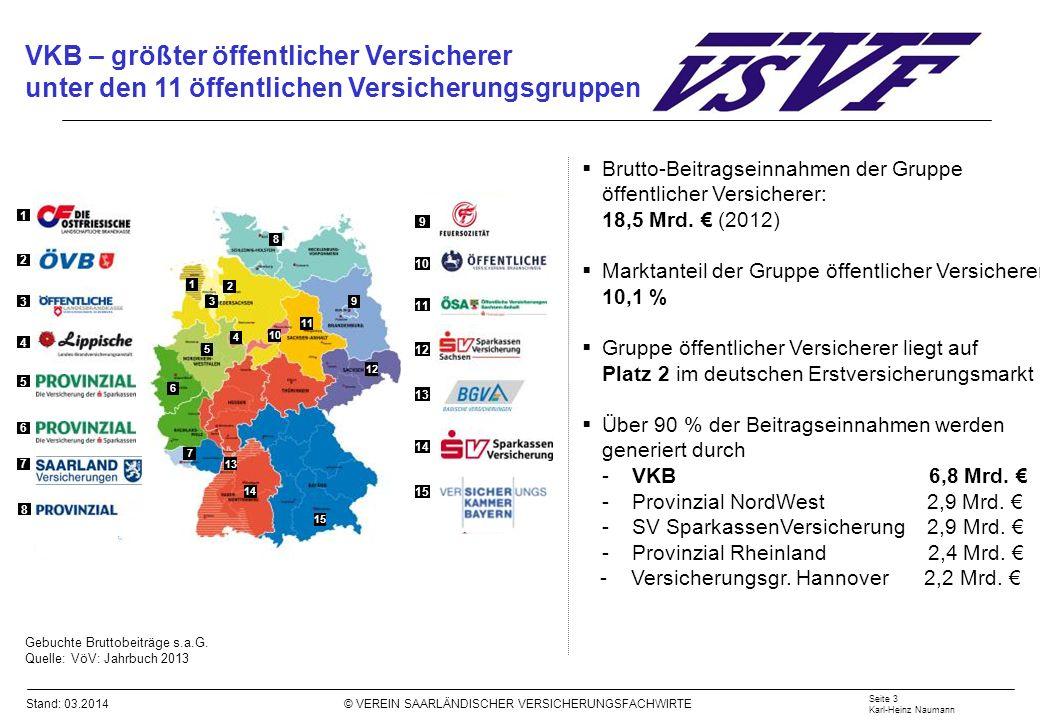 Stand: 03.2014 © VEREIN SAARLÄNDISCHER VERSICHERUNGSFACHWIRTE VKB – größter öffentlicher Versicherer unter den 11 öffentlichen Versicherungsgruppen Ge