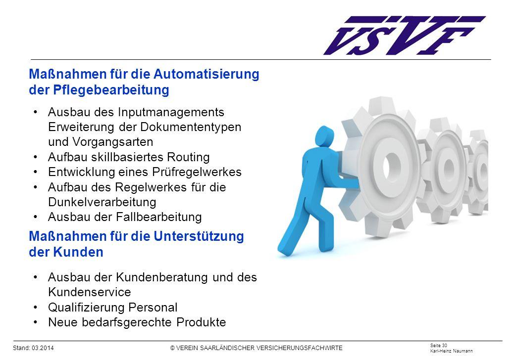 Stand: 03.2014 © VEREIN SAARLÄNDISCHER VERSICHERUNGSFACHWIRTE Maßnahmen für die Automatisierung der Pflegebearbeitung Ausbau des Inputmanagements Erwe