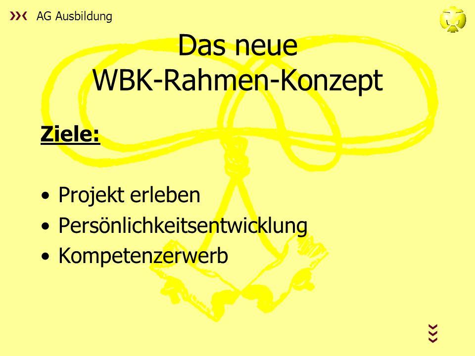 AG Ausbildung Das neue WBK-Rahmen-Konzept Ziele: Projekt erleben Persönlichkeitsentwicklung Kompetenzerwerb