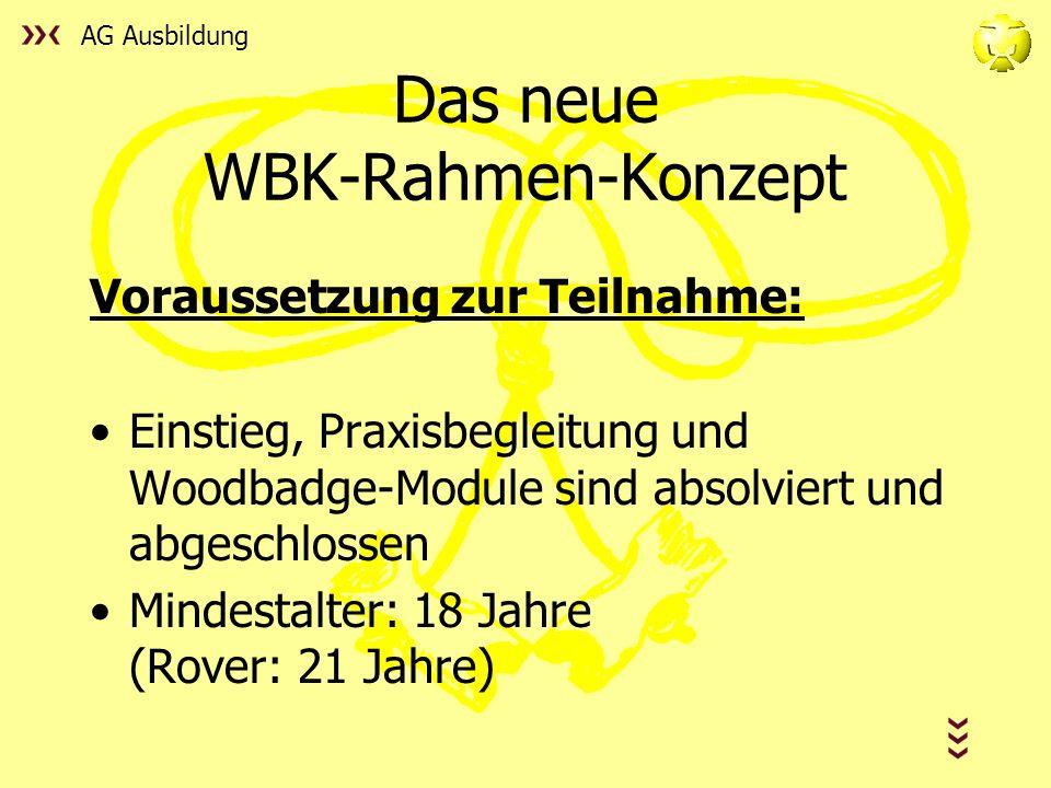 AG Ausbildung Das neue WBK-Rahmen-Konzept Voraussetzung zur Teilnahme: Einstieg, Praxisbegleitung und Woodbadge-Module sind absolviert und abgeschlossen Mindestalter: 18 Jahre (Rover: 21 Jahre)