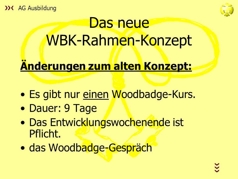 AG Ausbildung Das neue WBK-Rahmen-Konzept Änderungen zum alten Konzept: Es gibt nur einen Woodbadge-Kurs.