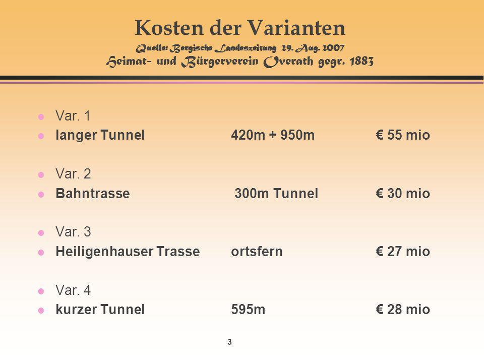 3 Kosten der Varianten Quelle: Bergische Landeszeitung 29.