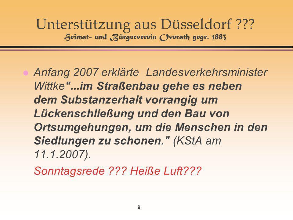 9 Unterstützung aus Düsseldorf . Heimat- und Bürgerverein Overath gegr.
