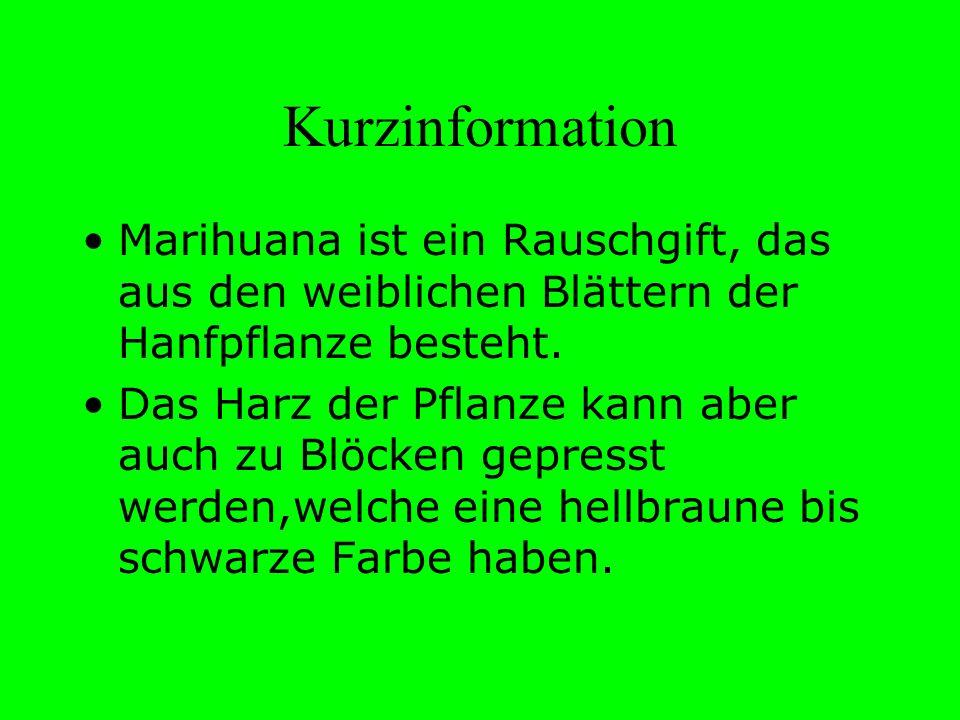 Kurzinformation Marihuana ist ein Rauschgift, das aus den weiblichen Blättern der Hanfpflanze besteht. Das Harz der Pflanze kann aber auch zu Blöcken