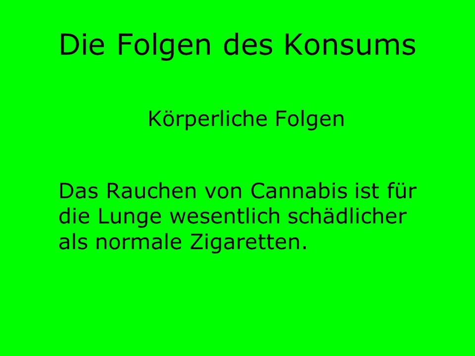 Die Folgen des Konsums Körperliche Folgen Das Rauchen von Cannabis ist für die Lunge wesentlich schädlicher als normale Zigaretten.