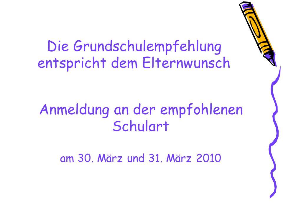 Die Grundschulempfehlung entspricht dem Elternwunsch Anmeldung an der empfohlenen Schulart am 30.