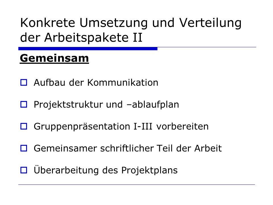 Konkrete Umsetzung und Verteilung der Arbeitspakete II Gemeinsam Aufbau der Kommunikation Projektstruktur und –ablaufplan Gruppenpräsentation I-III vo