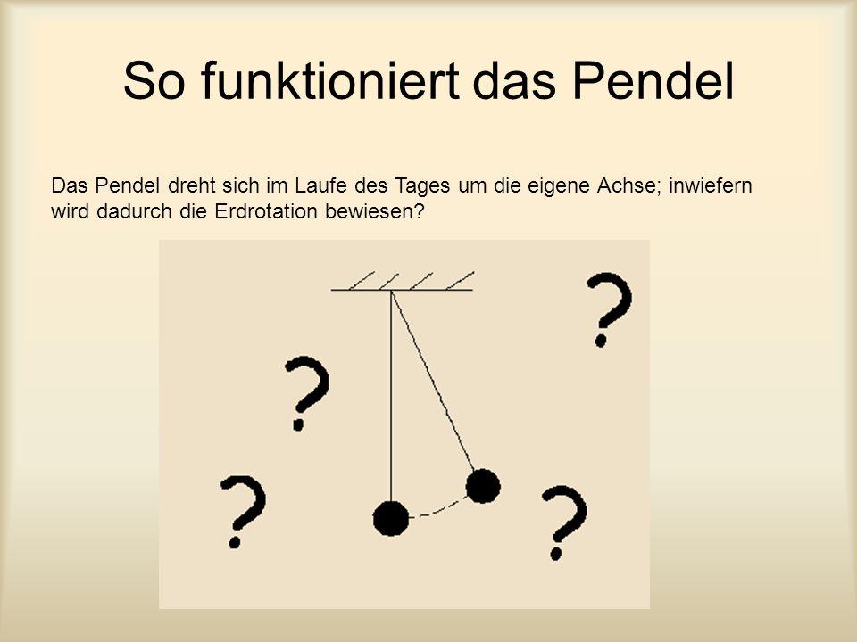 So funktioniert das Pendel Das Pendel dreht sich im Laufe des Tages um die eigene Achse; inwiefern wird dadurch die Erdrotation bewiesen?