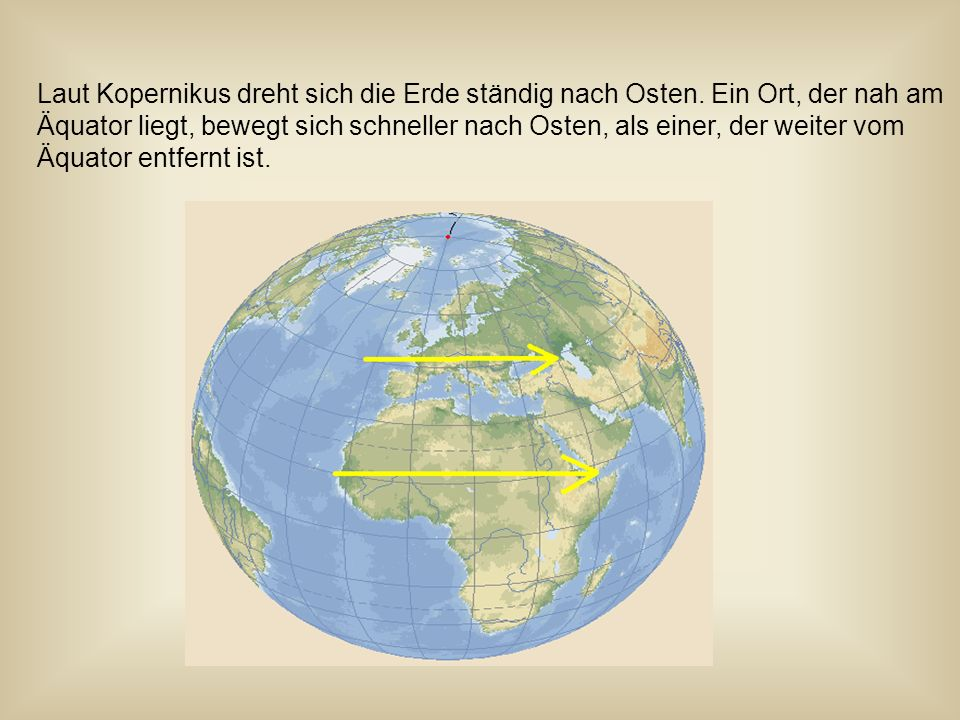 Demnach muss sich München schneller nach Osten bewegen als Berlin, da München näher am Äquator liegt.
