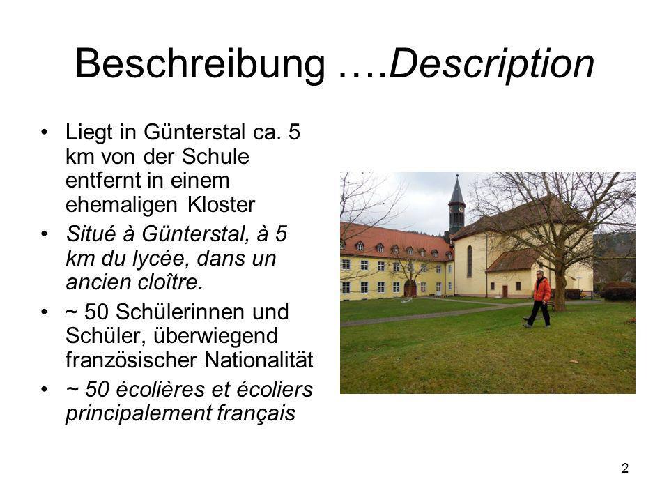 1 Internat des Deutsch- Französischen Gymnasiums Internat du Lycée Franco-allemand