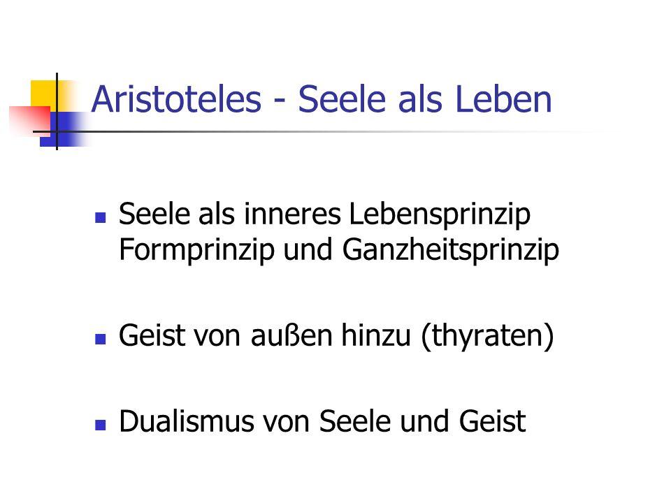 Aristoteles - Seele als Leben Seele als inneres Lebensprinzip Formprinzip und Ganzheitsprinzip Geist von außen hinzu (thyraten) Dualismus von Seele und Geist