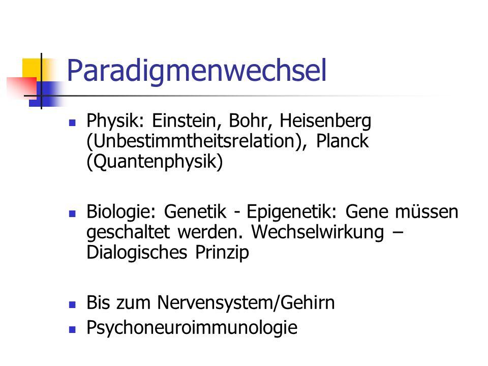Paradigmenwechsel Physik: Einstein, Bohr, Heisenberg (Unbestimmtheitsrelation), Planck (Quantenphysik) Biologie: Genetik - Epigenetik: Gene müssen geschaltet werden.