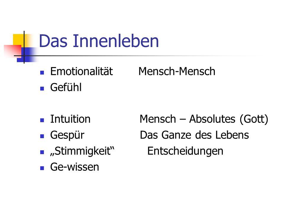 Das Innenleben Emotionalität Mensch-Mensch Gefühl Intuition Mensch – Absolutes (Gott) Gespür Das Ganze des Lebens Stimmigkeit Entscheidungen Ge-wissen