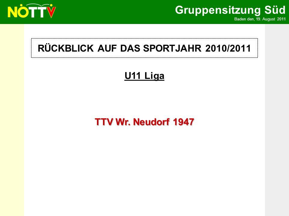 Gruppensitzung Süd Baden den, 19. August 2011 U11 Liga TTV Wr.