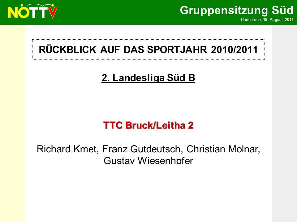 Gruppensitzung Süd Baden den, 19.August 2011 U11 Liga TTV Wr.