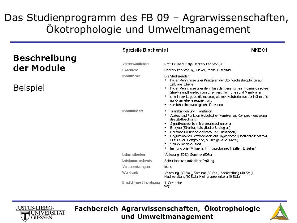 Das Studienprogramm des FB 09 – Agrarwissenschaften, Ökotrophologie und Umweltmanagement Beschreibung der Module Beispiel Fachbereich Agrarwissenschaf