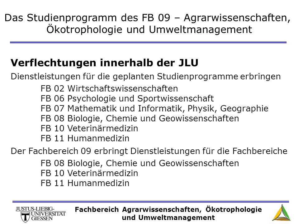 Das Studienprogramm des FB 09 – Agrarwissenschaften, Ökotrophologie und Umweltmanagement Verflechtungen innerhalb der JLU Dienstleistungen für die gep