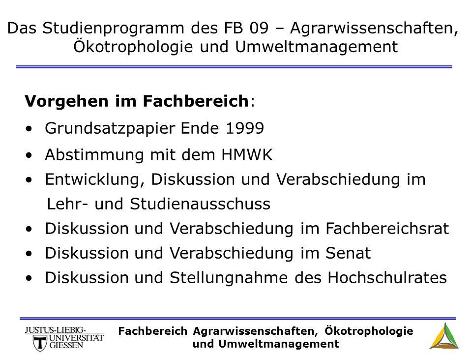 Das Studienprogramm des FB 09 – Agrarwissenschaften, Ökotrophologie und Umweltmanagement Vorgehen im Fachbereich: Grundsatzpapier Ende 1999 Abstimmung