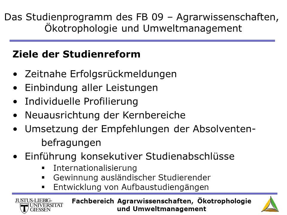 Das Studienprogramm des FB 09 – Agrarwissenschaften, Ökotrophologie und Umweltmanagement Ziele der Studienreform Zeitnahe Erfolgsrückmeldungen Einbind