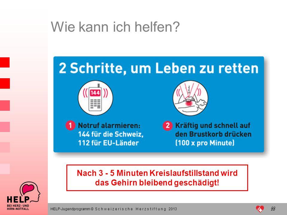 22 Wie kann ich helfen? HELP-Jugendprogramm © S c h w e i z e r i s c h e H e r z s t i f t u n g 2013 Nach 3 - 5 Minuten Kreislaufstillstand wird das