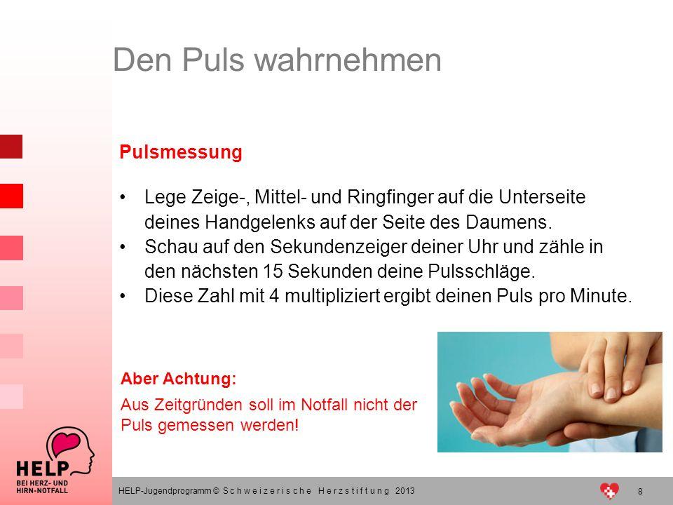 8 HELP-Jugendprogramm © S c h w e i z e r i s c h e H e r z s t i f t u n g 2013 Pulsmessung Lege Zeige-, Mittel- und Ringfinger auf die Unterseite de
