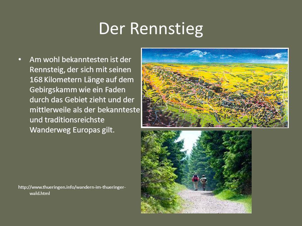 Der Rennstieg Am wohl bekanntesten ist der Rennsteig, der sich mit seinen 168 Kilometern Länge auf dem Gebirgskamm wie ein Faden durch das Gebiet zieht und der mittlerweile als der bekannteste und traditionsreichste Wanderweg Europas gilt.