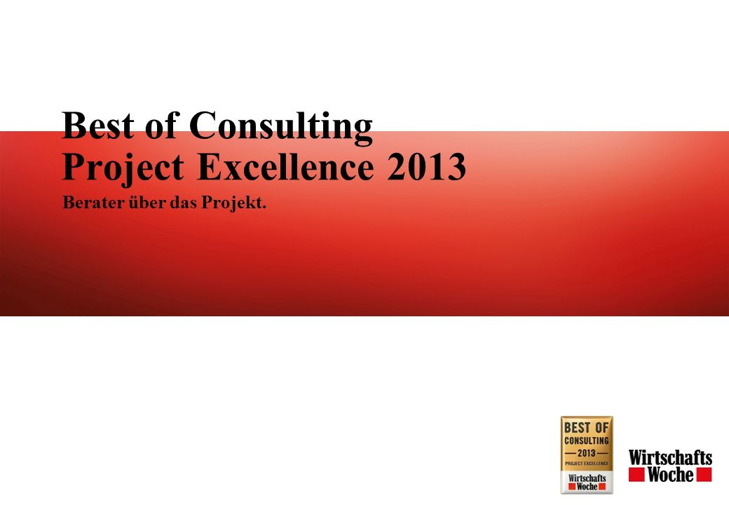 Best of Consulting Project Excellence 2013 Berater über das Projekt.