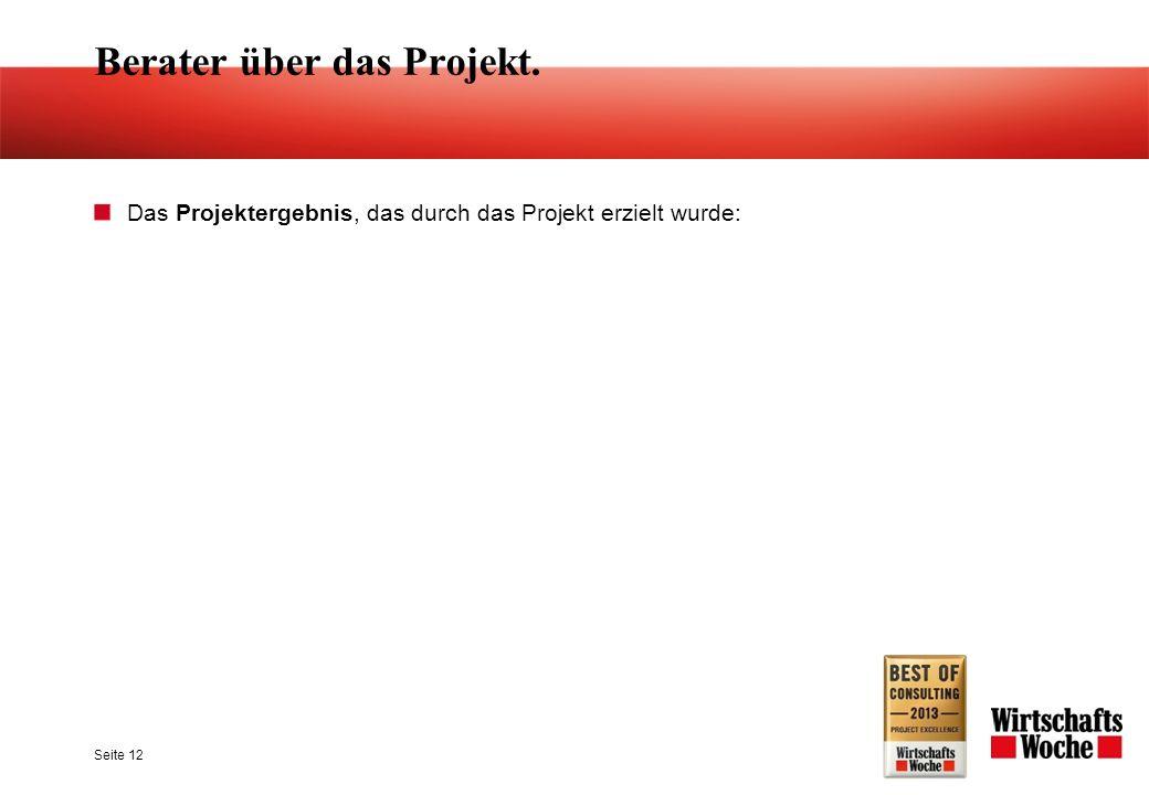 Seite 12 Berater über das Projekt. Das Projektergebnis, das durch das Projekt erzielt wurde: