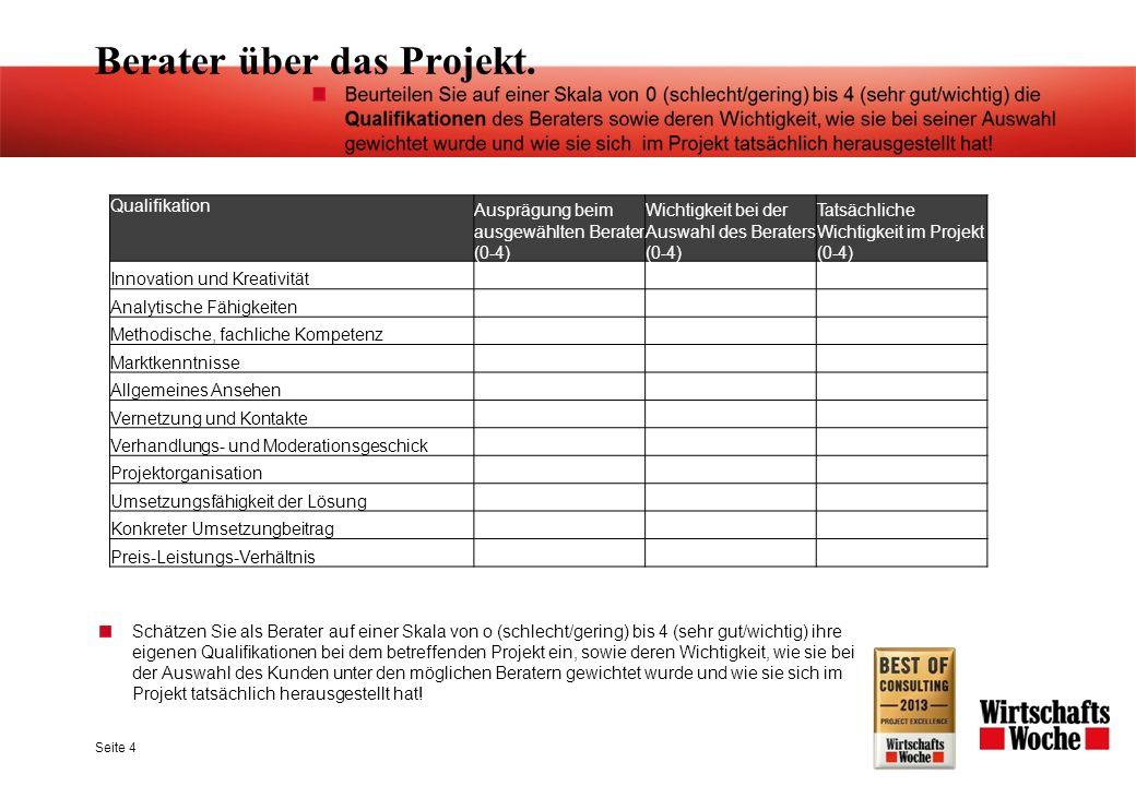 Berater über das Projekt. Seite 4 Schätzen Sie als Berater auf einer Skala von o (schlecht/gering) bis 4 (sehr gut/wichtig) ihre eigenen Qualifikation