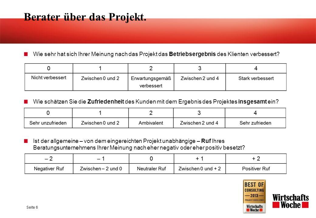 Seite 6 Wie sehr hat sich Ihrer Meinung nach das Projekt das Betriebsergebnis des Klienten verbessert? Wie schätzen Sie die Zufriedenheit des Kunden m