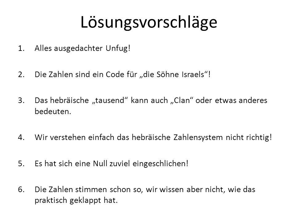 Lösungsvorschläge 1.Alles ausgedachter Unfug.2.Die Zahlen sind ein Code für die Söhne Israels.