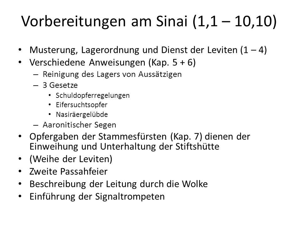 Vorbereitungen am Sinai (1,1 – 10,10) Musterung, Lagerordnung und Dienst der Leviten (1 – 4) Verschiedene Anweisungen (Kap.