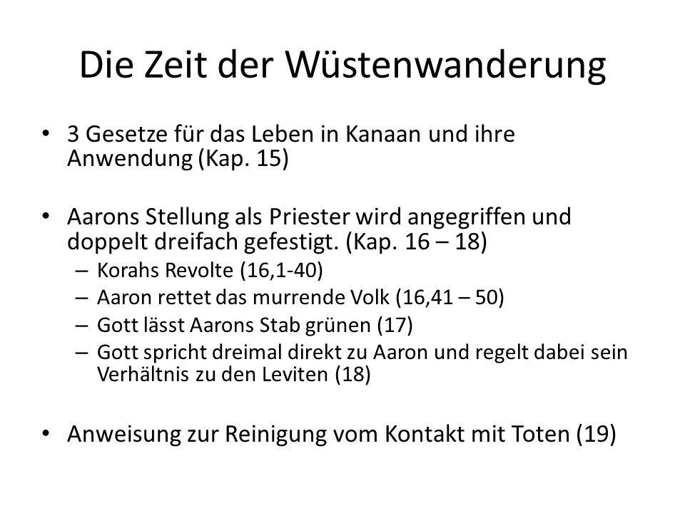 Die Zeit der Wüstenwanderung 3 Gesetze für das Leben in Kanaan und ihre Anwendung (Kap.