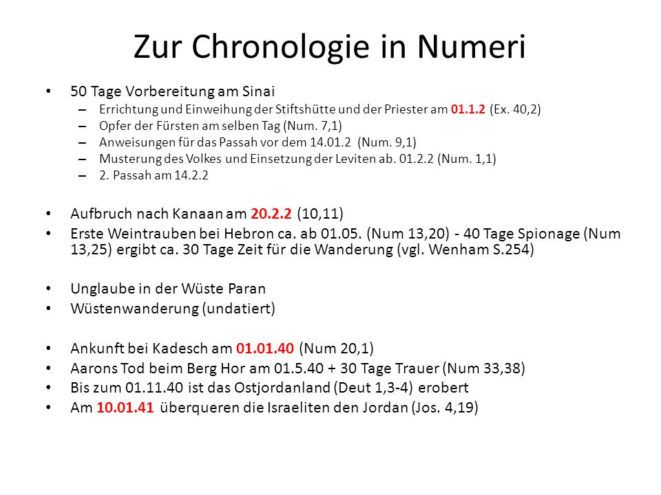 Zur Chronologie in Numeri 50 Tage Vorbereitung am Sinai – Errichtung und Einweihung der Stiftshütte und der Priester am 01.1.2 (Ex.