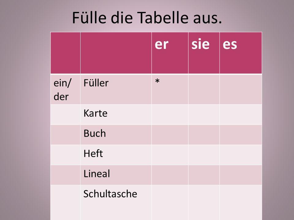 Fülle die Tabelle aus. ersiees ein/ der Füller* Karte Buch Heft Lineal Schultasche