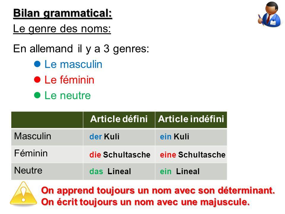 Bilan grammatical: Le genre des noms: En allemand il y a 3 genres: Le masculin Le féminin Le neutre Article définiArticle indéfini Masculin Féminin Ne
