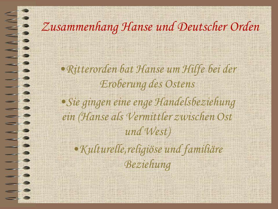 Zusammenhang Hanse und Deutscher Orden Ritterorden bat Hanse um Hilfe bei der Eroberung des Ostens Sie gingen eine enge Handelsbeziehung ein (Hanse al