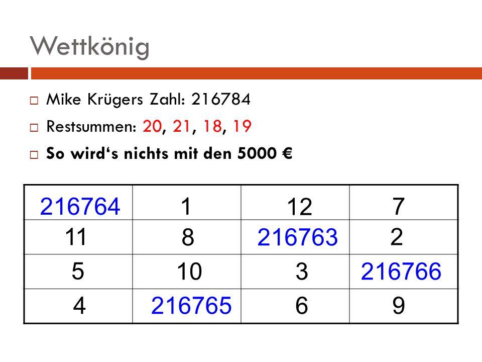 Wettkönig Mike Krügers Zahl: 216784 Restsummen: 20, 21, 18, 19 So wirds nichts mit den 5000 1 12 7 11 8 2 3 5 10 469 216764 216763 216766 216765