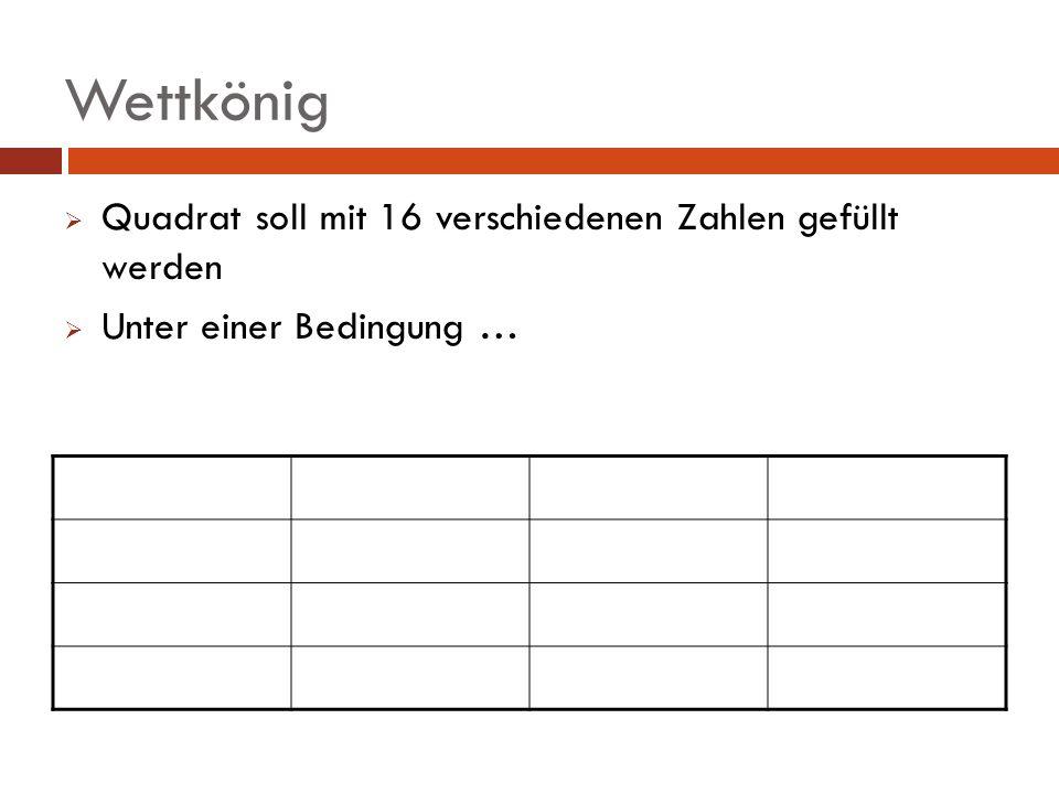 Wettkönig Quadrat soll mit 16 verschiedenen Zahlen gefüllt werden Unter einer Bedingung …